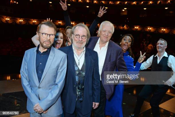 Bjorn Ulvaeus Cassidy Janson Benny Andersson Sir Tim Rice Alexandra Burke and conductor John Rigby pose onstage during the press night performance of...