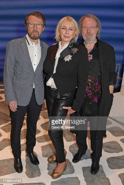 "Bjorn Ulvaeus, Judy Craymer and Benny Andersson attend the 20th anniversary performance of ""Mamma Mia!"" at the Novello Theatre on April 6, 2019 in..."