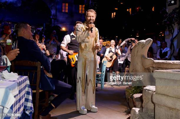 Bjorn Ulvaeus makes a cameo in his original ABBA costume from 1977 at the opening night of MAMMA MIA The Party at The O2 on September 19 2019 in...
