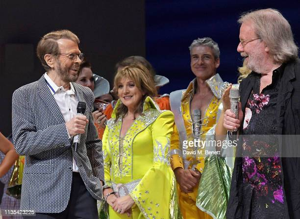Bjorn Ulvaeus Siobhan McCarthy Richard Trinder and Benny Andersson attend the 20th anniversary performance of Mamma Mia at the Novello Theatre on...