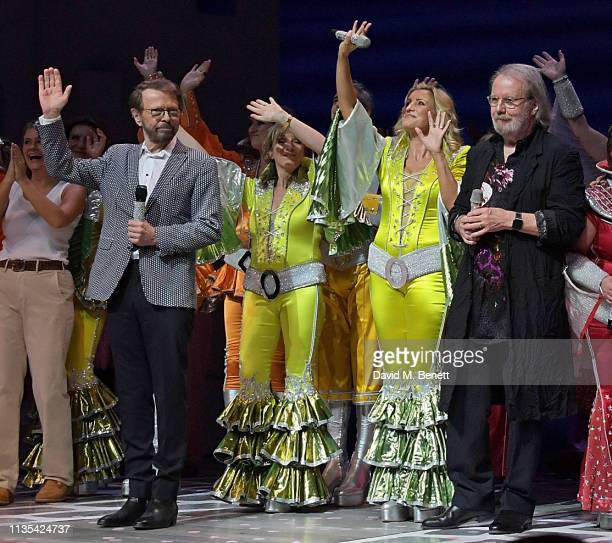 Bjorn Ulvaeus Siobhan McCarthy Sara Poyzer and Benny Andersson attend the 20th anniversary performance of Mamma Mia at the Novello Theatre on April 6...