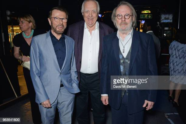 Bjorn Ulvaeus Sir Tim Rice and Benny Andersson pose backstage during the press night performance of Chess at The London Coliseum on May 1 2018 in...