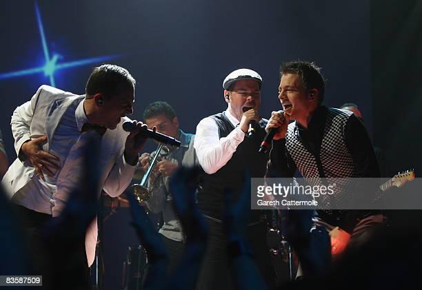 Bjorn Warns Boris Lauterbach and Martin Vandreier of Frette Brot Regional Award Winners for Germany perform during the MTV Europe Music Awards held...