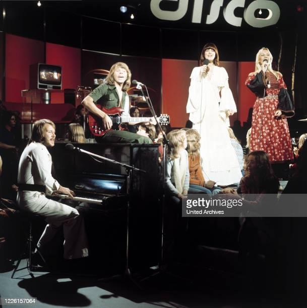 Björn , Benny, Agnetha und Anni-Frid, Auftritt in der ZDF-Musiksendung: DISCO, 1973.