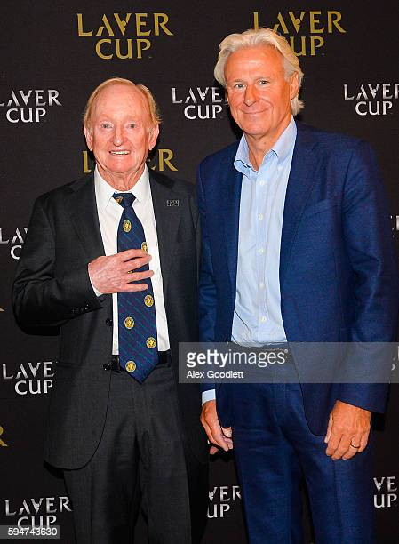 Bjrn Borg and Rod Laver pose for a photo during a Laver Cup media announcement St Regis Hotel on August 24 2016 in New York City