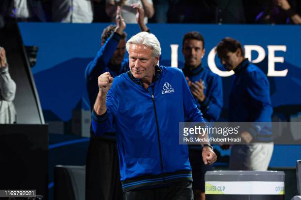 Björn Borg Captain of Team Europe celebrates the win of Dominic Thiem of Team Europe over Denis Shapovalov of Team World during Day 1 of the Laver...