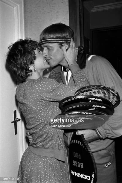 Björn Borg et sa femme Mariana Simionescu chez eux à Monte-Carlo en avril 1981, Monaco.