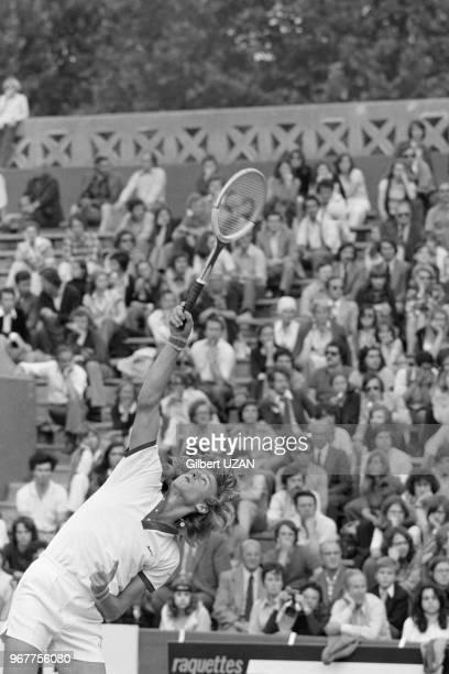 Björn Borg lors de son quart de final contre le méxicain Ravirez aux Internationaux de France de Tennis à Paris le 13 juin 1974 France