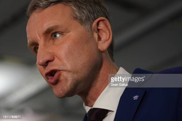 Björn Höcke, a far-right leading member of the right-wing Alternative for Germany political party, speaks to the media at the AfD federal party...