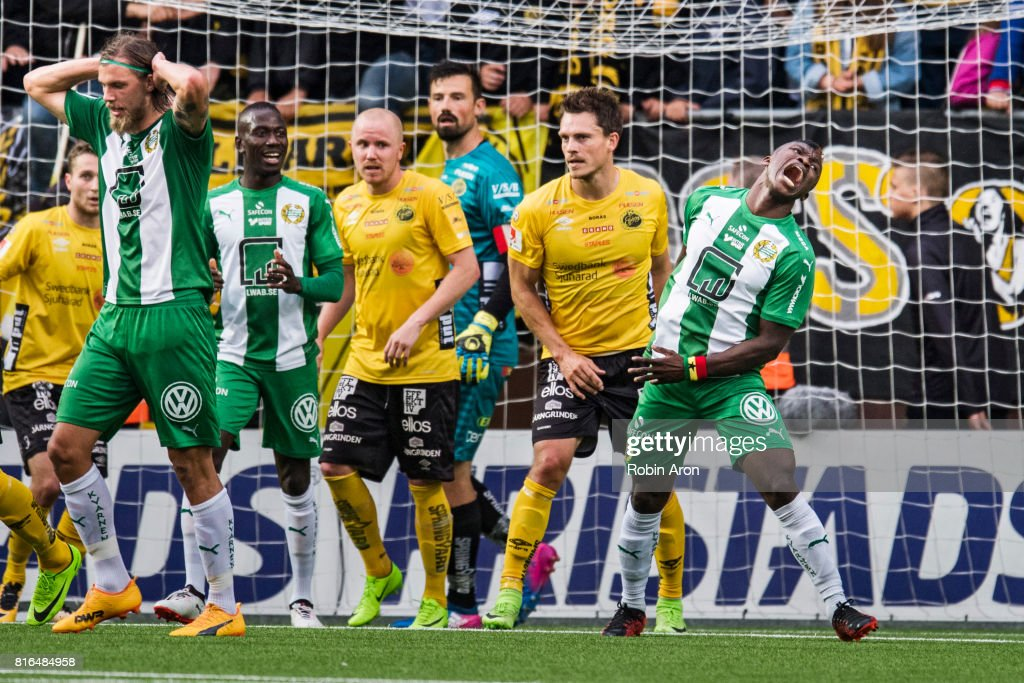 Bjørn Paulsen of Hammarby IF and Joseph Aidoo of Hammarby IF dejected after a missed chance during the Allsvenskan match between IF Elfsborg and Hammarby at Boras Arena on July 17, 2017 in Boras, Sweden.
