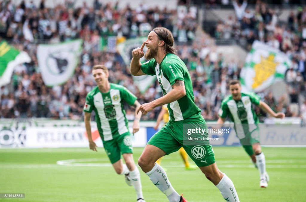 Bjorn Paulsen Of Hammarby If Celebrates After Scoring   During The Allsvenskan Between Hammarby