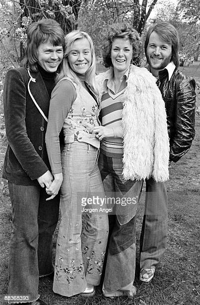 Björn Ulvaeus Agnetha Fältskog AnniFrid Lyngstad Benny Andersson of pop group Abba pose for a group shot in Copenhagen Denmark in 1974