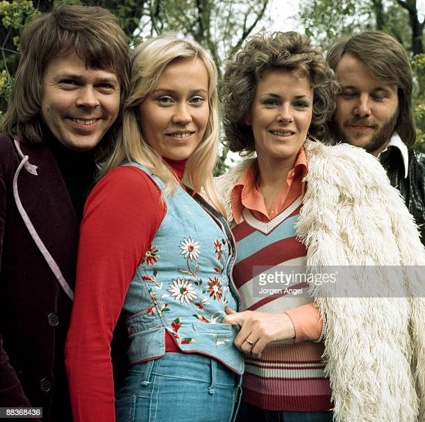 Björn Ulvaeus Agnetha Fältskog AnniFrid Lyngstad Benny Andersson of pop group Abba pose for a group shot in Copenhagen Denmark in 1974
