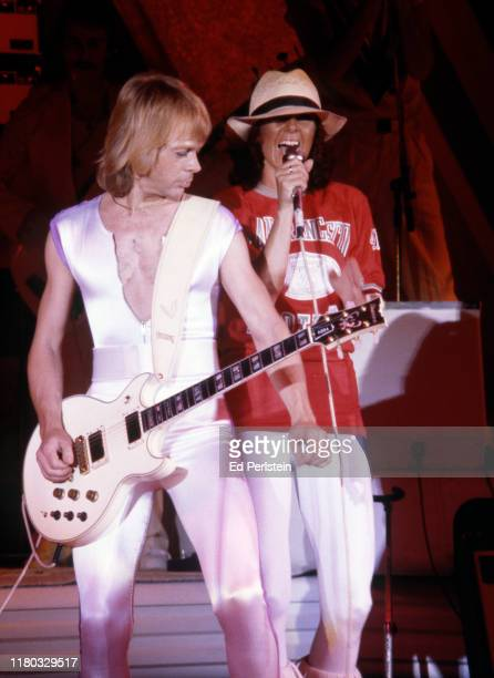 Björn Ulvaeus and AnniFrid Lyngstad perform with ABBA at Concord Pavilion on September 19 1979 in Concord California
