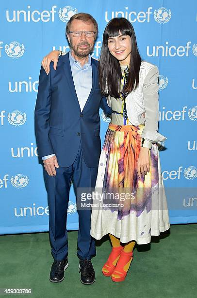 Björn Ulvaeus and Laleh Pourkarim attend the UNICEF launch of the #IMAGINE Project to celebrate the 25th Anniversary of the rights of a child at...