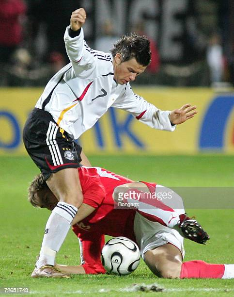 Bj?rn Ziegenbein of Germany fights for the ball with Bernhard Morgenthaler of Austria during the Men's U20 international friendly match between...