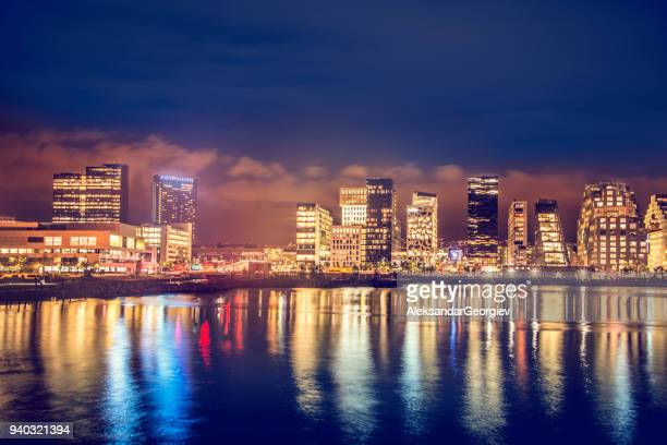 bjørvika barcode, modern buildings in oslo at night, norway - oslo stock pictures, royalty-free photos & images
