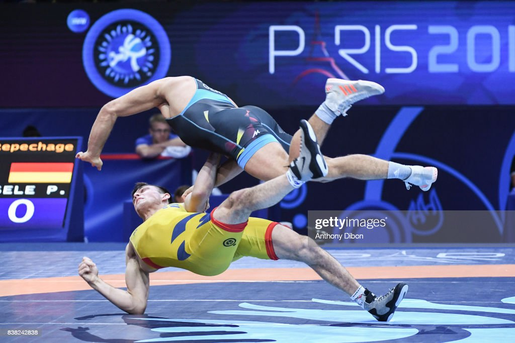 Bjurberg Kes A of Sweden and Eisel p of Germany during the Men's 80 Kg Greco-Roman competition during the Paris 2017 World Championships at AccorHotels Arena on August 22, 2017 in Paris, France.