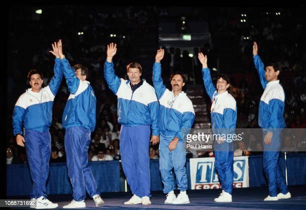 Béla Károlyi and his gymnastic coaching team January 1, 1991 in Santa Monica, Los Angeles, California