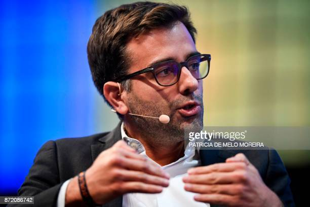 BlaBlaCar cofounder and chief executive officer Nicolas Brusson gives an interview during the 2017 Web Summit in Lisbon on November 9 2017 Europe's...