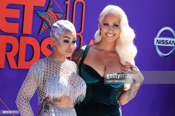 Blac Chyna and Amber Rose attend the 2018 BET Awards at Microsoft Theater on June 24 2018 in Los Angeles California