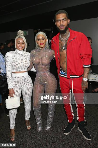 Blac Chyna Keyshia Ka'oir and Dave East attend the BET Hip Hop Awards 2017 at The Fillmore Miami Beach at the Jackie Gleason Theater on October 6...