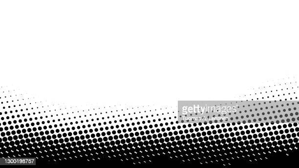 black abstract dotted halftone background with copy space. - pattern stock pictures, royalty-free photos & images