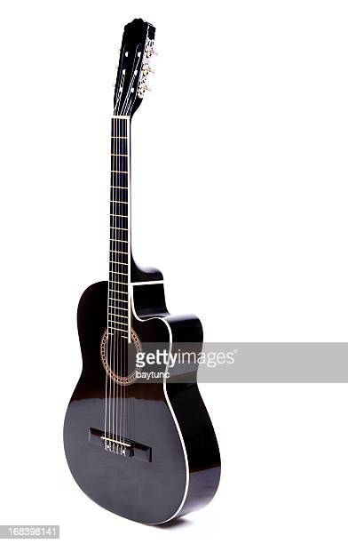 black acoustic guitar - acoustic guitar stock pictures, royalty-free photos & images
