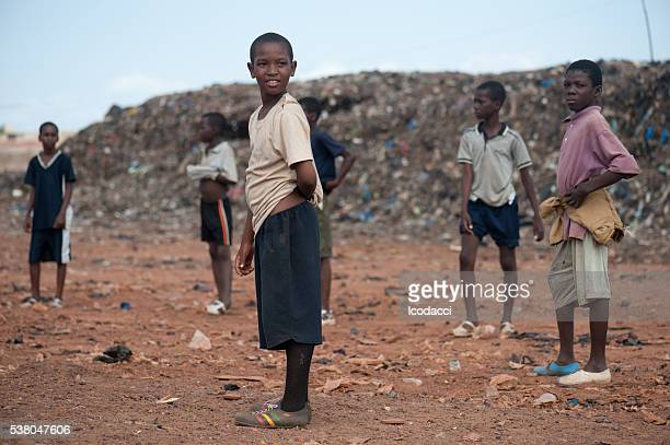 ブラックのお子様に、アフリカの田舎の生活