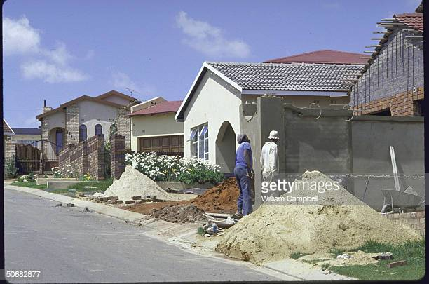 Black African middleclass housing in township suburbs experiencing construction boom since scrapping of apartheid pass law