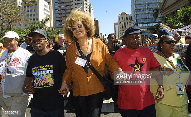 Black American activist Angela Davis , one of the thousands of anti Racism protester that took part in a march in Durban 01 September on the second...