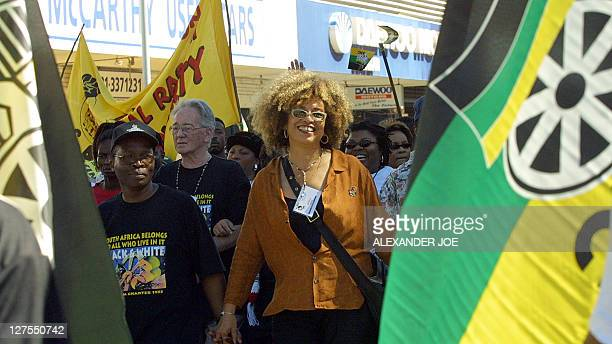 Black American activist Angela Davis one of the thousands of anti Racism protester that took part in a march in Durban 01 September 2001 on the...