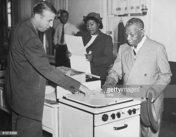 Black Americans vote for the first time in Charleston South Carolina during the US presidential election 2nd November 1948
