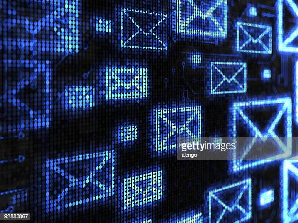 black and blue digital board with e-mail icons background - e mail stockfoto's en -beelden