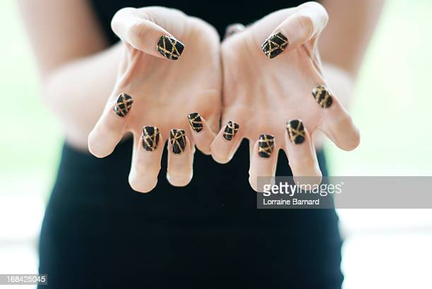 Black and gold custom nail art