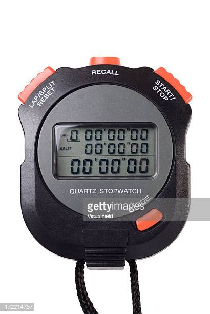Black and orange digital stopwatch isolated on white