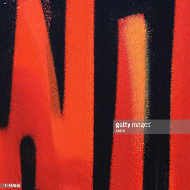 Black and orange graffiti square