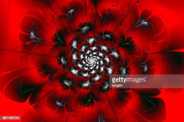 Black and red glowing flower fractal with particles