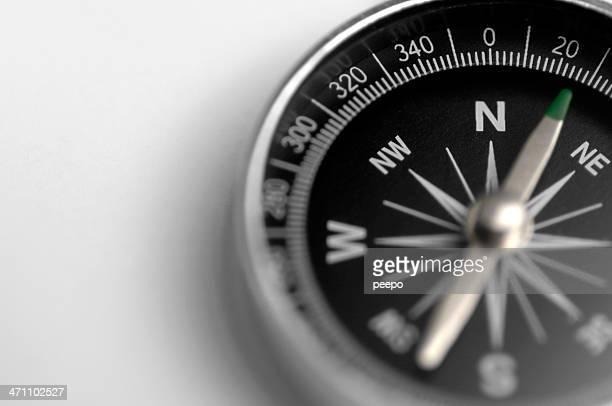 Schwarz und Silber-Kompass auf weißem Hintergrund.