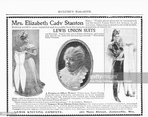 Black and white advertisement for Lewis Union Suits with a headshot of suffragist Elizabeth Cady Stanton and her personal review of the product...