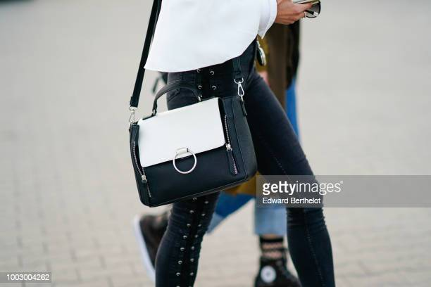 A black and white bag is seen during Feeric Fashion Week 2018 on July 20 2018 in Sibiu Romania
