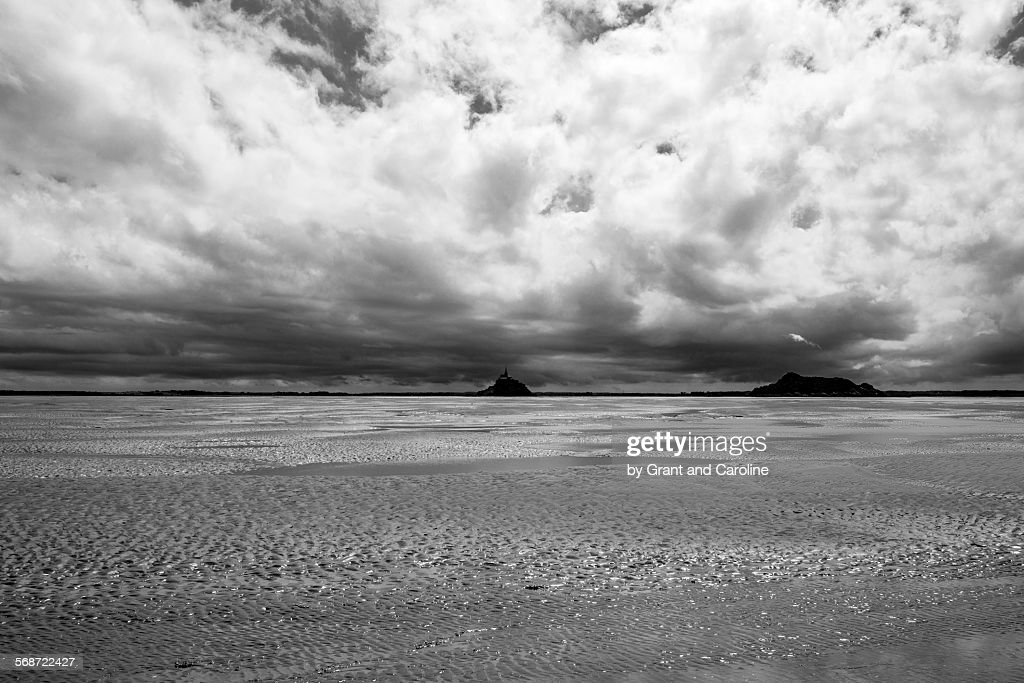 Black and White Bay of Mont Saint-Michel : Stock Photo