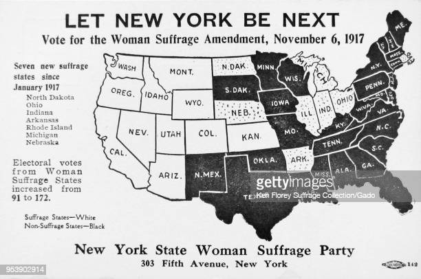 Black and white card depicting a political map of the United States of America showing which states have passed suffrage and captioned 'Let New York...