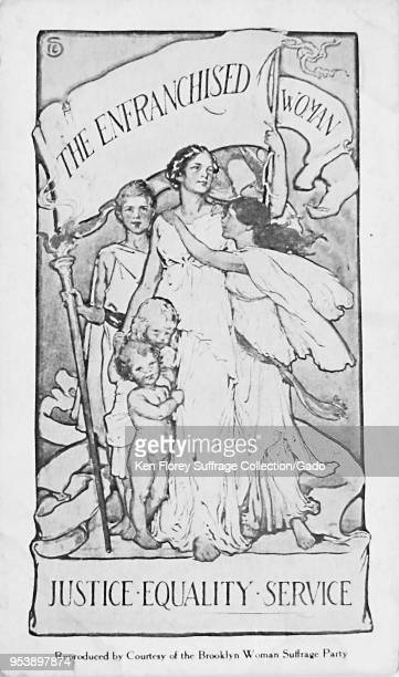 Black and white card depicting a woman wearing Classical GrecoRoman or Hellenistic clothing standing with several children and holding a pennant...