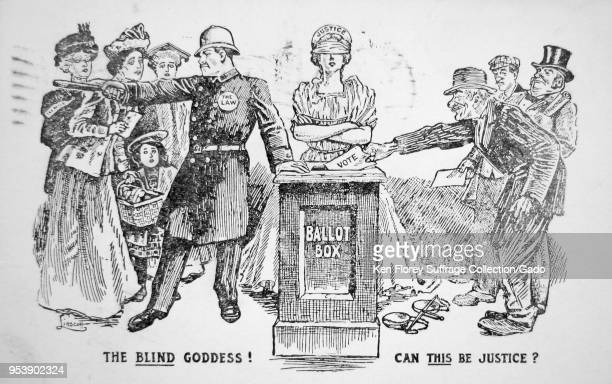 Black and white card depicting disreputable men voting while a law officer keeps women away from a ballot box that is supervised by a blindfolded...