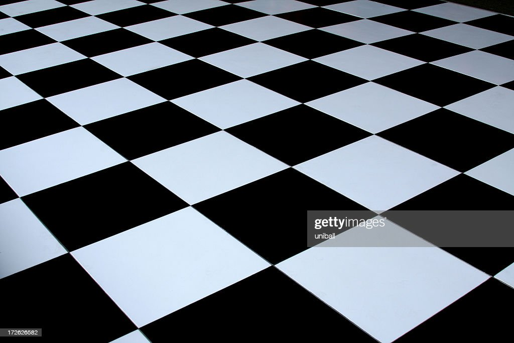 Black and white checkered dance floor : Stockfoto
