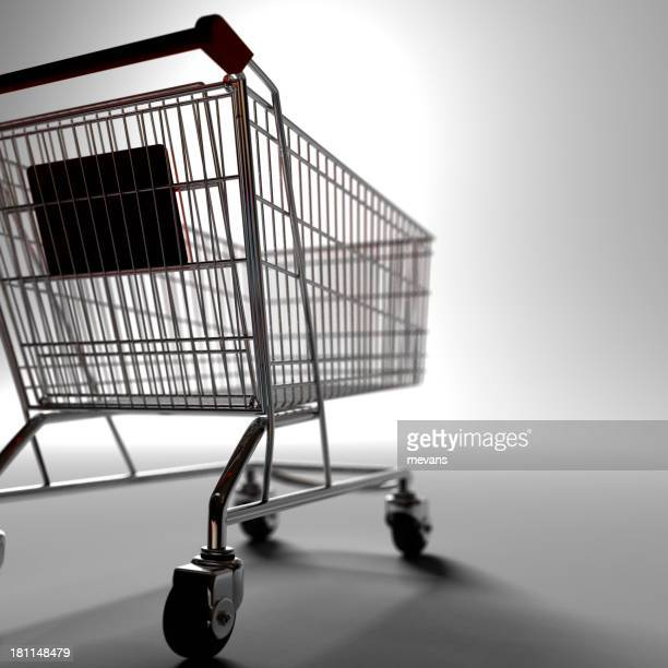 A black and white close up of a shopping cart