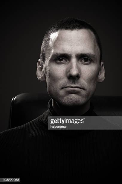 black and white close up of man - coltrui stockfoto's en -beelden