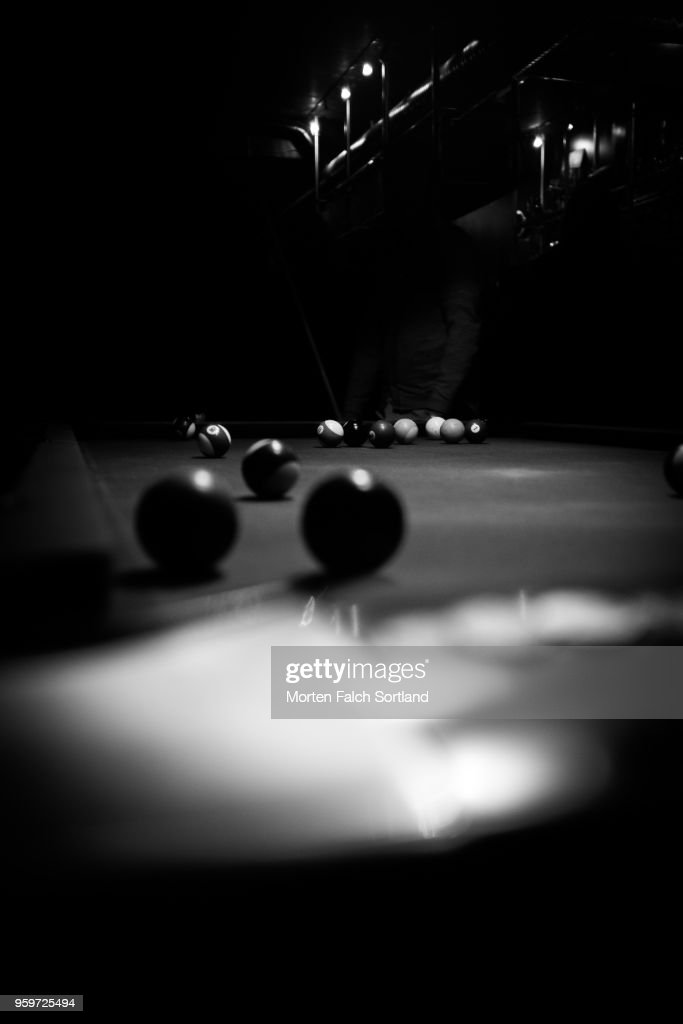 Black and White Close-Up of Balls on a Pool Table in a Bar in Oslo, Norway Wintertime : Stock-Foto