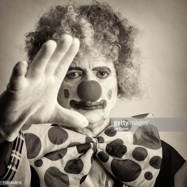 black and white clown_1 - ian gwinn stock pictures, royalty-free photos & images